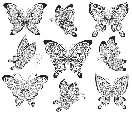 白い背景上に分離されて黒と白のカリグラフィ蝶のベクトルを設定します。タトゥーのデザイン
