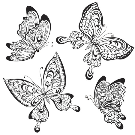 wzorek: Wektor zestaw kaligraficzne czarno-białe motyle na białym tle. Tattoo konstrukcja