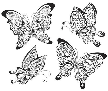 tattoo butterfly: Insieme vettoriale di bianco e nero farfalle calligrafici isolato su sfondo bianco. Disegno del tatuaggio