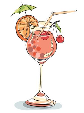 Vector hand drawn illustration of tropical cocktail. Vektorové ilustrace
