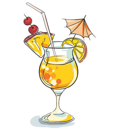Vector hand drawn illustration of tropical cocktail. Vector