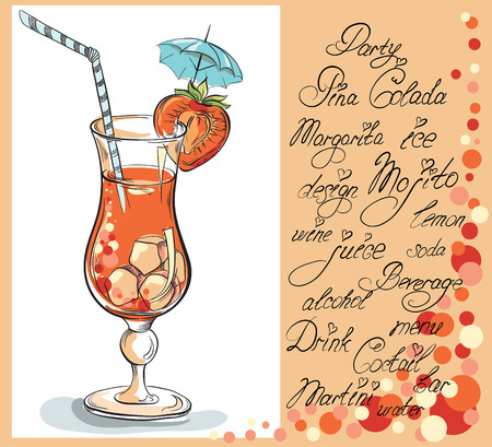 Vector hand drawn illustration of of tropical red Strawberry Daiquiri cocktail. Vintage cocktail party invitation card. Vector