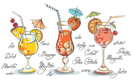 Vector hand drawn illustration of tropical cocktail.