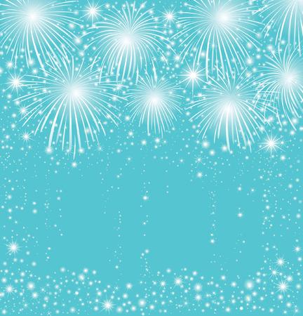 Starry festive fireworks background. Vector illustration greeting card.