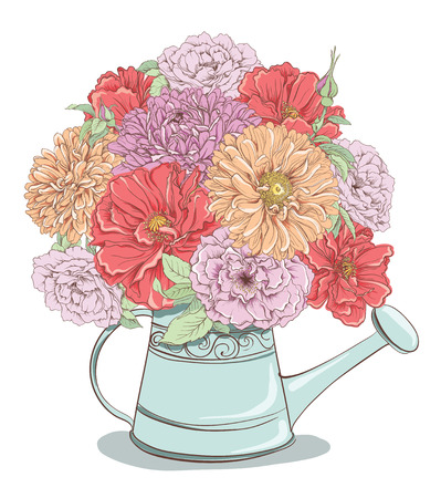 Beautiful bouquet of flowers in watering can isolated on white background. Hand drawn vector illustration