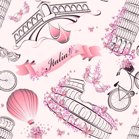 Italy famous landmarks and symbols seamless pattern. Romantic travel in Italy. Vector Vector