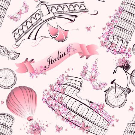 rialto: Italy famous landmarks and symbols seamless pattern. Romantic travel in Italy. Vector