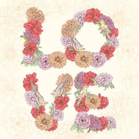 Love word made of flowers. Vector hand drawn Vector