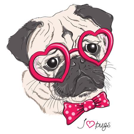 白で隔離される心メガネでパグ犬ヒップスターのファッションの肖像画。ベクトル手描き下ろしイラスト  イラスト・ベクター素材