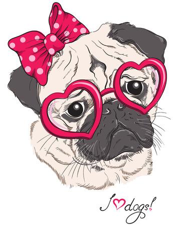 puppy love: Moda retrato de perro pug inconformista en los corazones vasos aislados en blanco. Ilustraci�n dibujados a mano de vectores