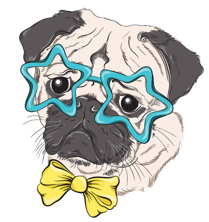Fashion portrait of pug dog hipster in glasses in the form of stars and bow isolated on white. Vector hand drawn illustration Stock Illustratie