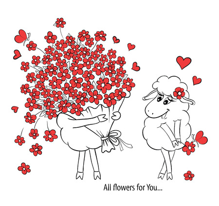 Couple in love. Two cute sheeps with big beautiful bouquet of flowers. Idea for greeting card with Happy Wedding or Valentine's Day. Cartoon doodle vector illustration Illustration