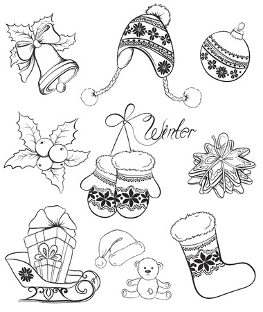 Christmas and winter objects collection. Vector hand drawn illustration. Vettoriali