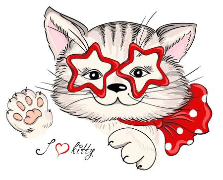 Fashion portret van hipster kat in glazen in de vorm van sterren en boog op wit wordt geïsoleerd. Vector hand getrokken illustratie