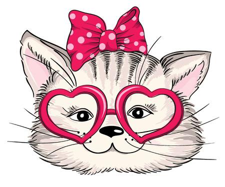 유행: 마음에 유행을 좇는 고양이의 패션 초상화는 흰색에 고립 된 안경. 벡터 손으로 그린 그림