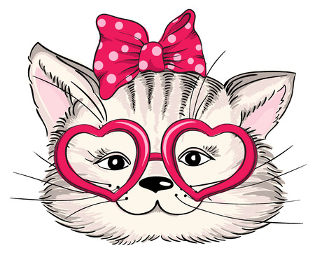 Fashion portrait of hipster cat in hearts glasses isolated on white. Vector hand drawn illustration 矢量图像