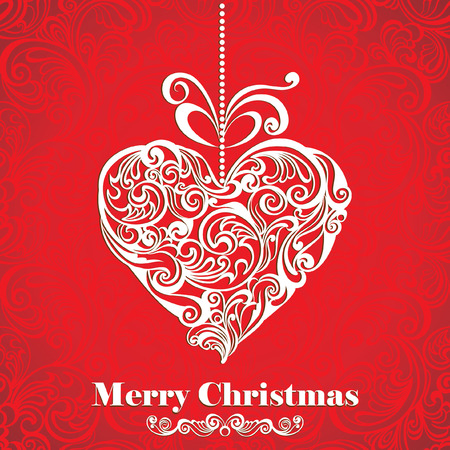 ornate heart: Vintage Christmas card with stylized floral heart. Vector illustration.