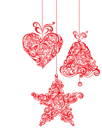 Stylized Christmas balls. Vector illustration. Vector