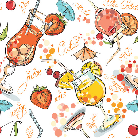 Vector seamless pattern with hand drawn cocktails and berries Vectores