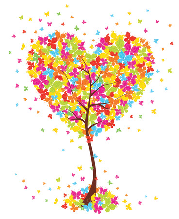 love tree: Love art tree heart shape with butterflies on white background. Vector illustration. Illustration