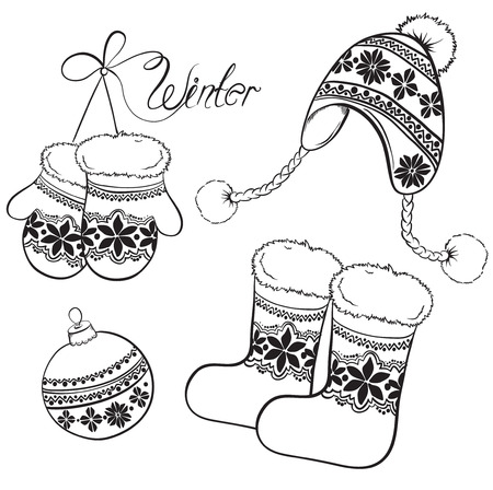 Winter and Christmas clothing set - hats, socks, gloves with ornaments. Hand drawn  vector illustration.