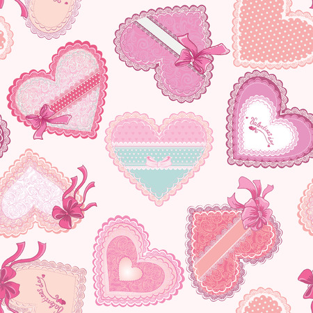 Pink valentines day seamless pattern with hearts. Fabric design. Vector illustration Vector