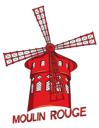 rouge: Hand drawn of cabaret Moulin Rouge in Paris, France. Vector illustration