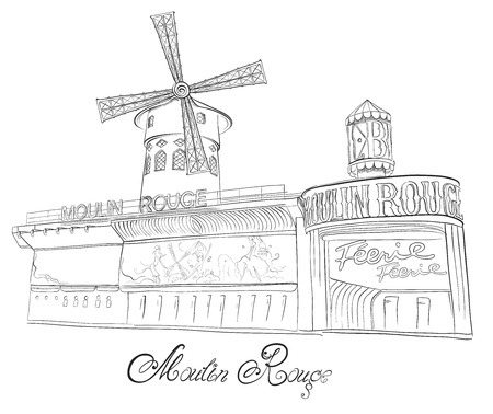 rouge: Hand drawn vector sketch of cabaret Moulin Rouge in Paris, France