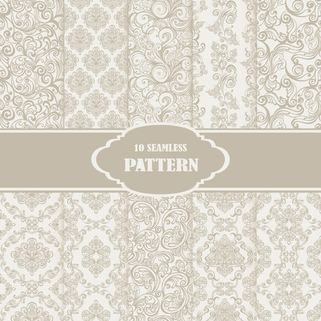 Set Seamless Floral Pattern. Vector illustration of 10 retro patterns collection for seamless background Vector