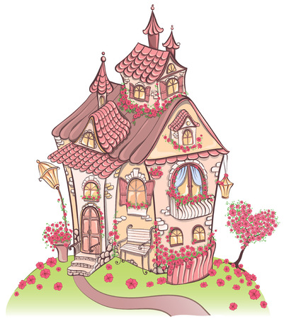 Fantasy cartoon Fairy tale house with amazing architecture and with red flowers. Hand drawn vector illustration