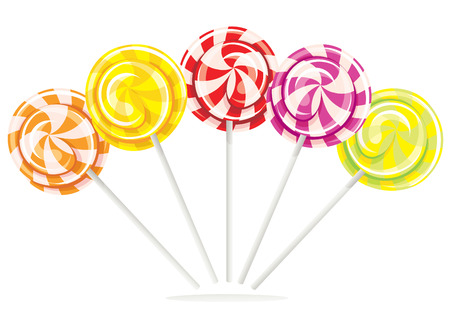 Set different bright colorful lollipops isolated on white background, vector illustration