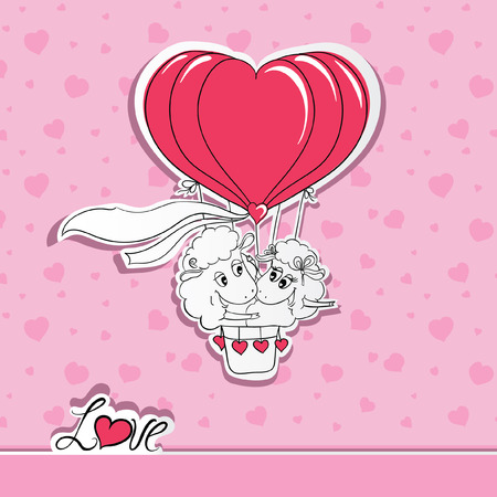 Couple in love. Hand drawn happy couple sheep riding a hot air balloon. Idea for greeting card with Happy Wedding or Valentines Day. Vector illustration Vector