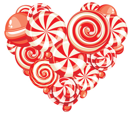 Valentines heart shaped sweet candy lollipops isolated on white background Vector