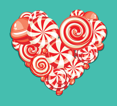 sweet background: Valentines day greeting card with heart shaped sweet candy lollipops Illustration