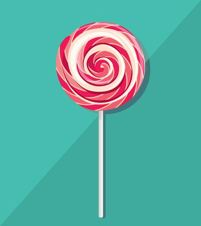 paleta de caramelo: Lollipop rosado, ilustraci�n vectorial