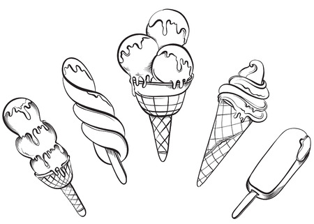 helado caricatura: Ice Cream Set. Dibujado a mano ilustraciones vectoriales