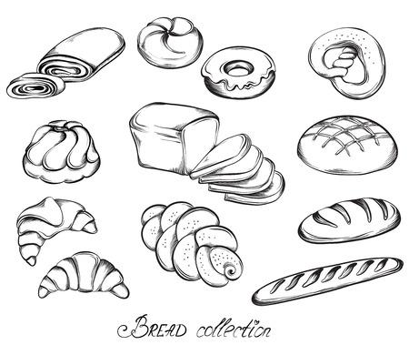comiendo pan: Dibujado a mano conjunto de dibujos de panes y bollos en la l�nea de arte. Ilustraci�n vectorial de la colecci�n panader�a en blanco y negro.