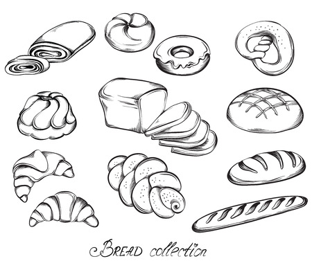 baker: Hand drawn sketch set of breads and buns in line art. Vector illustration of bakery collection in black and white.