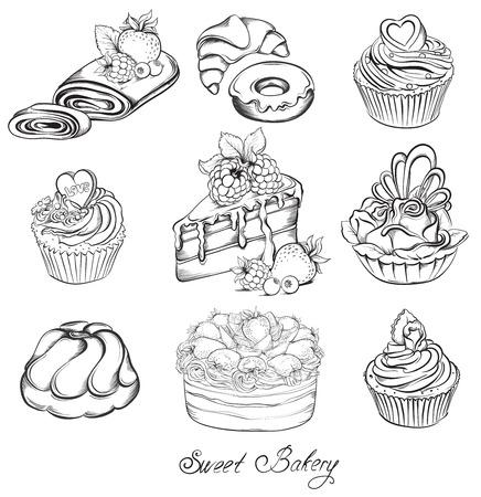 Collectie Hand getrokken van verschillende prachtige taarten en cupcakes. Schets Vector illustratie.