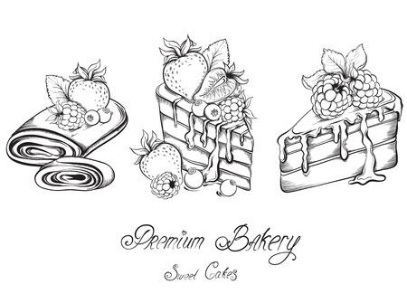 pastel boda: Dibujado a mano Colección de rebanadas hermosas Tortas con la formación de hielo y de la baya. Ilustración vectorial Sketch.