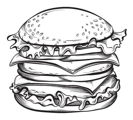 sandwich white background: Hand drawn illustration of Cheeseburger or Hamburger. Sketch Vector illustration.