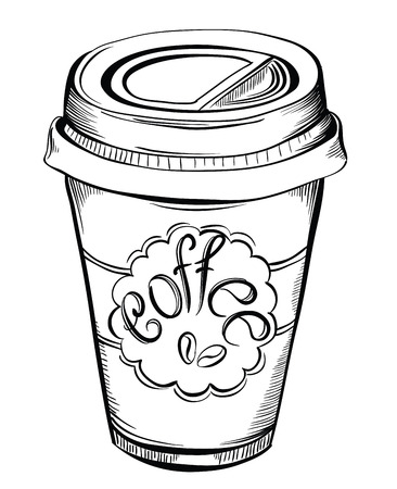 coffee to go: Hot Coffee Disposable to go Cup with lids and Label with coffee beans and text isolated on a white.  Hand drawn illustrations