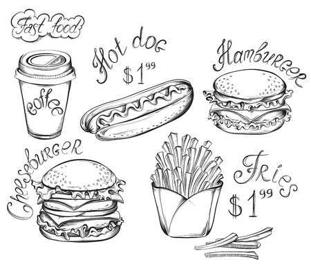 burger and fries: Vector hand drawn fast food set isolated on a white in vintage style.
