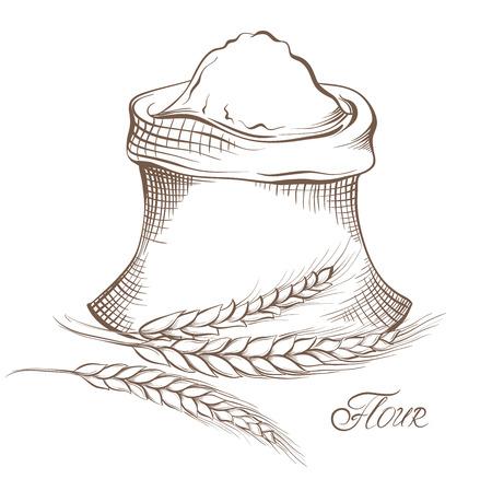 ベクターの手描きの小麦粉と小麦穀物。
