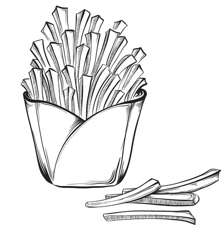 French fries. Hand drawn vector illustrations