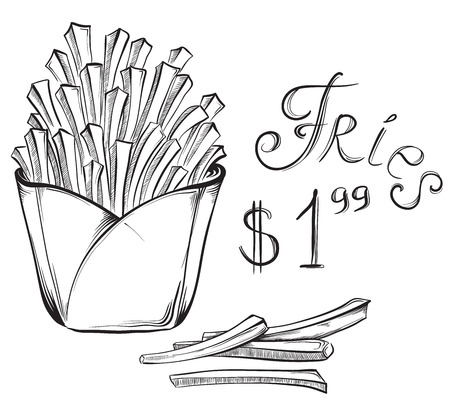 lunch box: Vintage fast food poster French fries with price. Hand drawn vector illustrations