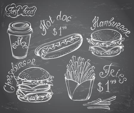 botanas: Vector dibujado a mano Juego de Retro menú de comida rápida con el precio en la pizarra en el estilo vintage Vectores