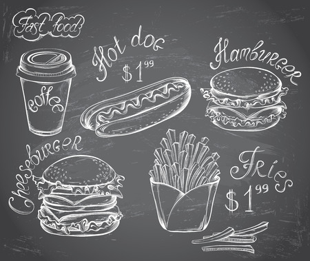 burger and fries: Vector hand drawn set of Retro Fast Food Menu with price on chalkboard in vintage style