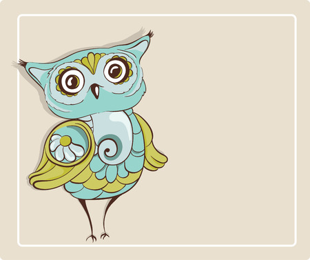 wise old owl: Owl. Template for greeting card with place for text. Hand drawn vector illustration Illustration
