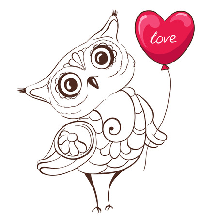 owl vector: Cute owl with balloon in the shape of heart. Template greeting invitation card. Hand drawn vector illustration
